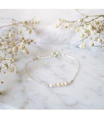 bransoletka z perłami little - srebrna
