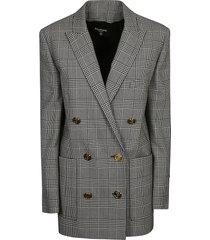 balmain double-breasted tartan print blazer
