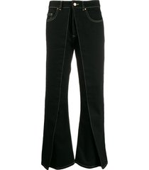 aalto flared style trousers - black