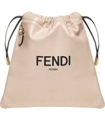 fendi logo nappa leather small pouch bag