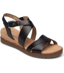 ankle-stap sandal sandalette med klack espadrilles svart gabor