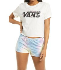 women's vans women's blozzom roll out crop graphic tee, size large - white
