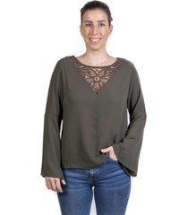 blusa escote v tejido olivo alexandra cid
