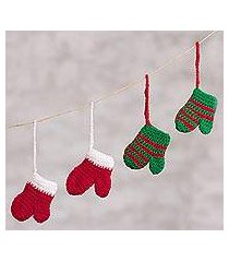 crocheted ornaments, 'christmas mittens' (set of 4) (peru)