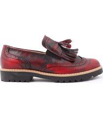 skórzane półbuty zapato 247 cz.czerwony
