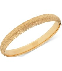 baguette-pattern hinge bangle bracelet in 14k gold