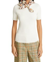 women's tory burch silk scarf accent ribbed top, size large - ivory