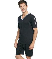 pijama masculino curto preto com gola off white - kanui