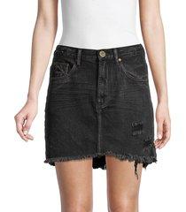 one teaspoon women's 2020 distressed high-rise denim mini skirt - double black - size 24 (0)