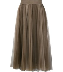 brunello cucinelli pleated mid-length skirt - brown
