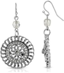 2028 silver-tone crystal round drop earrings
