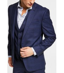 bar iii men's slim-fit blue plaid suit jacket, created for macy's