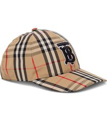 burberry vintage check hat with logo embroidery