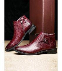botines suaves casuales con banda elástica con patrón de cuero genuino para hombre