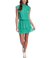 1.state smocked-neck flutter-sleeve dress