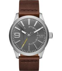 diesel men's rasp dark brown leather strap watch 46x53mm