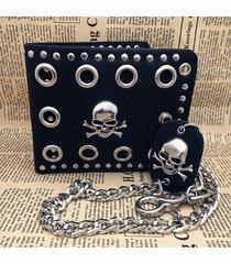 skull design cheap price pu leather biker trucker billfold men wallet with chain