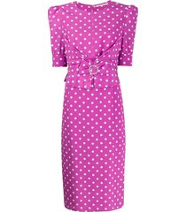 alessandra rich buckle detail polka dot dress - purple