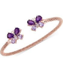 london blue topaz (3-1/5 ct. t.w.) & white zircon (1/4 ct. t.w.) butterfly mesh cuff bracelet (2-3/8 ct. t.w.) in 14k rose gold-plated sterling silver (also in amethyst)
