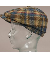 stetson wool check hatteras cap - blue check 6840304-225