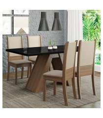 conjunto sala de jantar madesa dafne mesa tampo de vidro com 4 cadeiras rustic/preto/crema/bege cor:rustic/preto/crema/bege