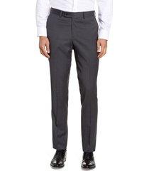 men's nordstrom men's shop trim fit wool blend dress pants, size 42 x - grey