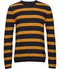 mixed stripe texture knit stickad tröja m. rund krage gul shine original