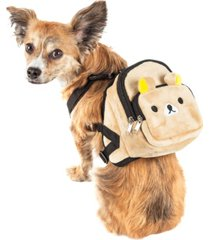 pet life 'teddy tails' dual-pocketed compartmental animated dog harness backpack