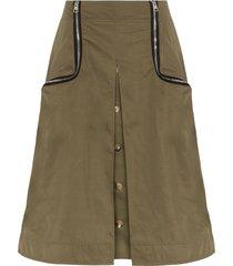 jw anderson zip-detail twill taffeta skirt - green