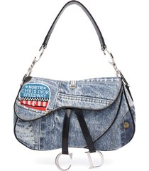 christian dior pre-owned denim saddle shoulder bag - blue