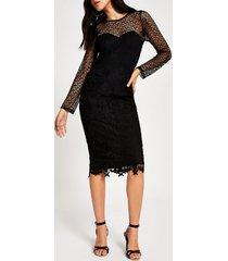 river island womens forever unique black lace bodycon midi dress