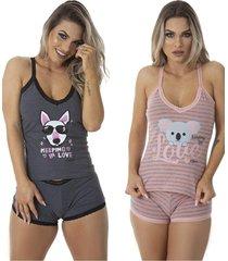 pijama para dormir fetiche kit 2 - preto - feminino - dafiti