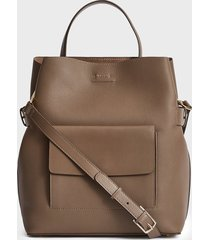 reiss freya - leather tote bag in mid grey, womens