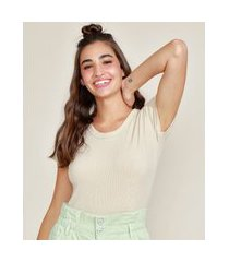 blusa feminina básica canelada manga curta decote redondo bege claro