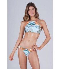 biquíni new beach trilobal halter top cropped localizado amalfi feminino