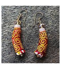 recycled glass bead dangle earrings, 'curvy' (ghana)