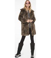mk cappotto in pelliccia sintetica stile safari - cammello scuro (marrone) - michael kors