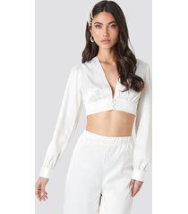na-kd party button deep v satin blouse - white