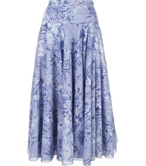 samantha sung printed a-line skirt - blue