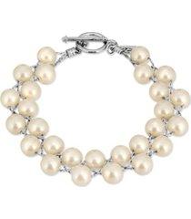 2028 silver-tone imitation pearl toggle bracelet