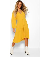 balloon sleeve button through midi dress, mustard