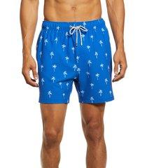 vintage summer palm tree print seersucker swim trunks, size xx-large in beach blue at nordstrom