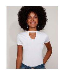 blusa feminina básica choker manga curta decote redondo branca