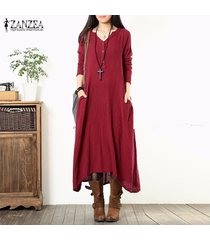 zanzea botones de manga larga con cuello en v túnica suelta vestido largo asimétrico largo -rojo