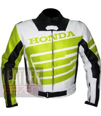 honda 9019 fluorescent leather motorcycle motorbike cowhide safety  jacket
