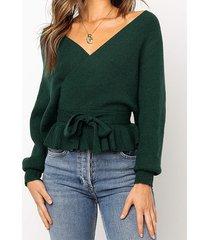 verde sin espalda diseño deep v cuello top tejido cruzado