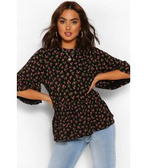 ditsy floral frill sleeve peplum top, black