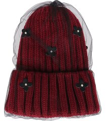 ca4la deep red wool blend hat
