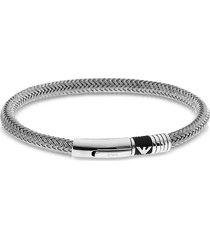 emporio armani designer men's bracelets, iconic woven stainless steel men's bracelet