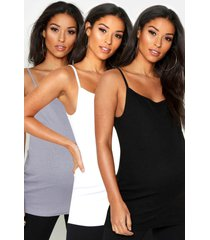 maternity 3 pack ribbed cami top, multi